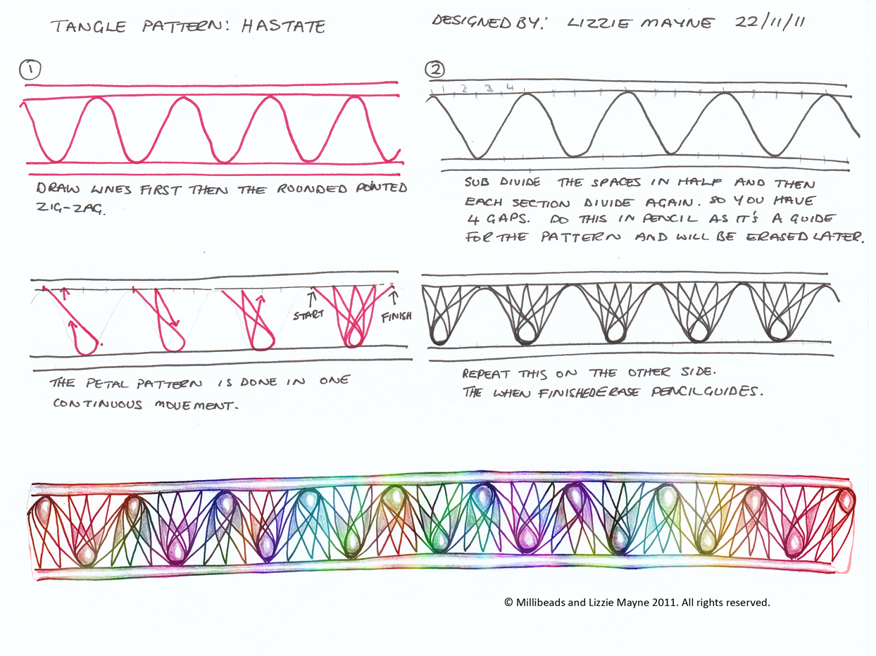 New Patterns Hastate and Hastate V2Zentangle Patterns Tutorial